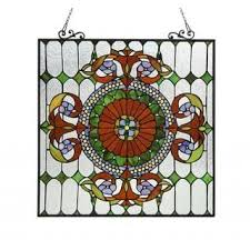 chloe tiffany style victorian design window art glass panel free