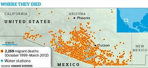 california map desert region map of deserts aims to save lives of desperate mexican