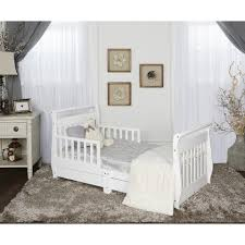 Toddler Bed Frame With Storage Dream On Me Sleigh Toddler Bed With Storage Drawer White Toys