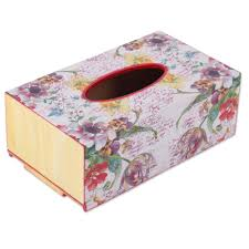 Tissue Holder Handcrafted Decoupage Wood Floral Tissue Box From India Floral