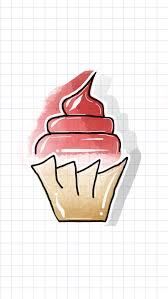 tayasui sketches red velvet cake watercolor maroon whip cream