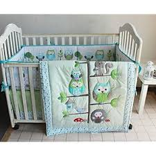 Boy Owl Crib Bedding Sets Green Owl Bedding Sets Bird Embroidered 7pcs Crib Set Baby Crib