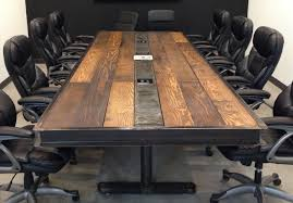 industrial vintage conference room table w raw steel body and