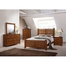 Rustic Contemporary Barley Brown Rustic Contemporary 6 Piece Queen Bedroom Set Logan