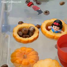 pumpkin boats fall sensory play idea