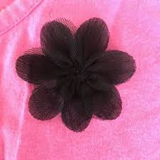 black flower faded pink knit sleeve w black flower from