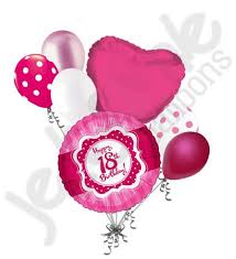 balloons for 18th birthday hot pink polka dots happy 18th birthday balloon bouquet