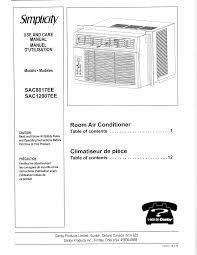 simplicity air conditioner sac8017ee user guide manualsonline com