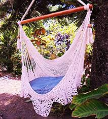 amazon com amazing hammock chair crochet beige indoor outdoor