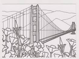 gate bridge drawing black and white