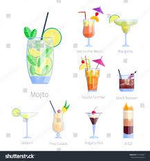 cosmopolitan clipart set alcoholic cocktails isolated fruit cold stock vector 611493881