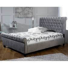 Velvet Sleigh Bed Crushed Velvet Sleigh Bed Wayfair Co Uk