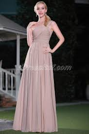 simple rosy brown one shoulder evening dress bridesmaid dress