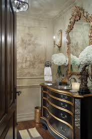 beautiful powder rooms beautiful metallic accents and grisaille mural inspiration joy