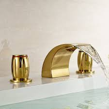 gold brass waterfall bathroom sink faucet double knobs widespread