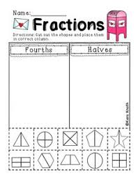fractions in first grade halves or fourths sort and other great