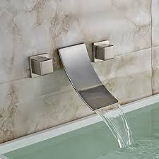 Bathtub Wall Mount Faucet Oulantron Wall Mount 3 Holes Waterfall Sink Faucet Dual Knobs Tub