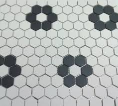 unglazed flower hexagon mosaic with four roses bathrooms