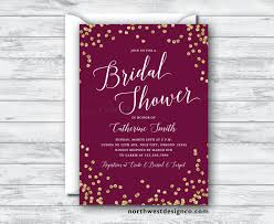 maroon gold bridal shower invitation burgundy merlot invite