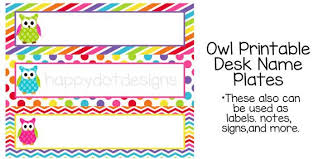 printable name tags printable rainbow owl desk name plates name by happydotdesign