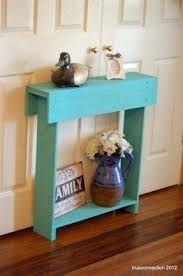 Turquoise Console Table Distressed Turquoise Console Table Inlay Hand Painted Finish Small