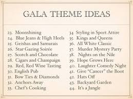 25 unique gala themes ideas on charity names