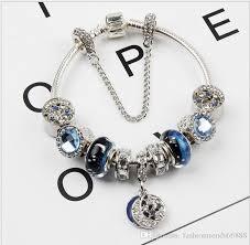 pandora bracelet charms silver images New design pandora beads dazzling moon star blue crystal silver jpg