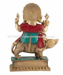 ganesha sitting on mouse statue indian deity brass idol figurine