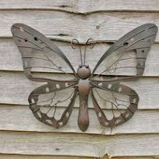 large decorative metal butterfly garden wall black brown