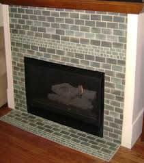 Tiled Fireplace Wall by Green Brick Tile Fireplace Surround For Living Room Designs
