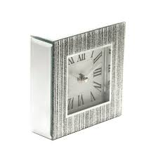 Large Silver Mantel Clock Sparkle Silver Clock