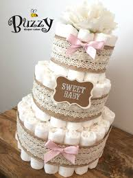 diper cake vintage chic pink and burlap with lace cake rustic chic