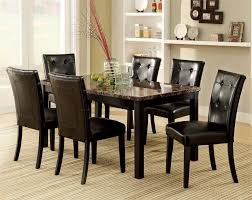 Boulder Faux Marble Espresso Dining Table Marble Dining Table - Espresso dining room set