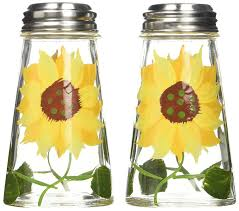amazon com grant howard hand painted tapered salt and pepper amazon com grant howard hand painted tapered salt and pepper shaker set sunflowers yellow kitchen dining