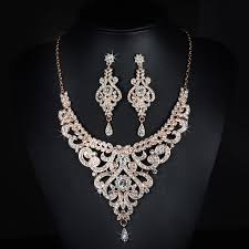 bridal wedding necklace set images Gorgeous rose gold rhinestones crystals wedding jewelry set bridal jpg