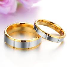 male and female matching his hers rings segmental band golden edge