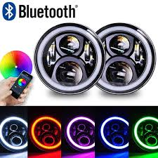 halo theme jeep 97 u002717 bluetooth color changing halo led headlights for jk and tj