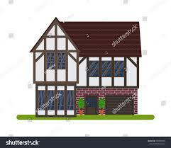 tudor style english house vector illustration stock vector tudor style or english house vector illustration of a tourist house for rent sale
