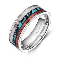 wood inlay wedding band 8mm unisex or men s wedding bands tri color titanium ring