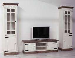 Wohnzimmerschrank Pinie Weiss Wohnwand 3 Teilig Pinie Massiv Braun Weiß Finca