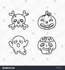 Ghost For Halloween Flat Linear Halloween Icons Set Four Stock Vector 480287500