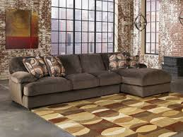 Rustic Sectional Sofas Brown Tone Over Sized Love Seat And Rectangle Upholstered Ottoman