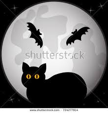 black silhouette cat sitting front stock vector 724277914