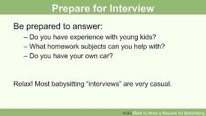 Responsibilities Of A Babysitter For Resume How To Write A Resume For Babysitting With Pictures Wikihow