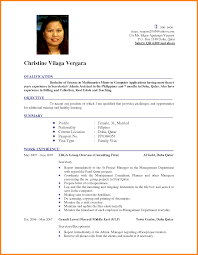 Sample Resume Format For Jobs Abroad by Resume Format For Job Application Abroad Augustais