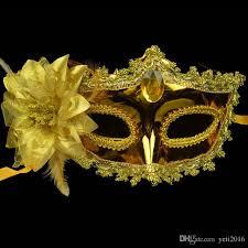 leather masquerade masks women handmade venetian leather mask rhinestone side flower
