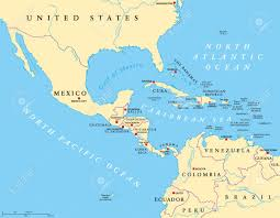 map of mexico south america middle america political map with capitals and borders mid