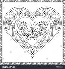 love heart butterfly coloring book stock vector 361639103