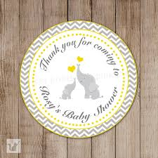 elephant chevron baby shower thank you tags yellow grey