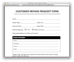 customer request form customer refund request form sample request